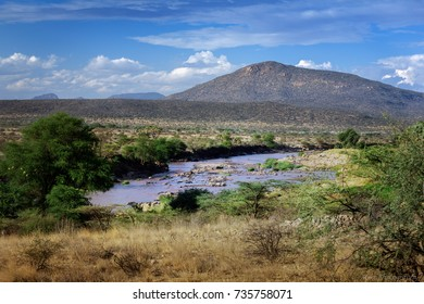 The ruggedly beautiful landscape of northern Kenya in the Samburu National Park.