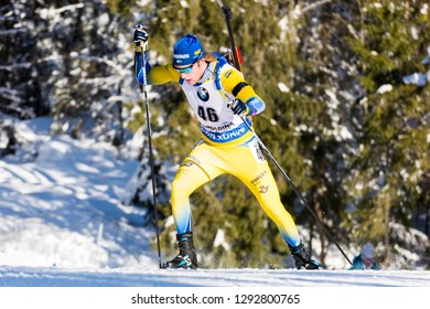 Ruhpolding, Germany - January 17, 2019: Sebastian Samuelsson (Sweden) during sprint race at the IBU World Cup Biathlon.