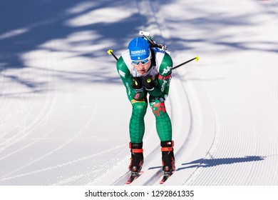 Ruhpolding, Germany - January 17, 2019: Lucas Hofer (Italy) competes in the sprint race at the IBU World Cup Biathlon.