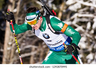 Ruhpolding, Germany - January 17, 2019: Dominik Windisch (Italy) competes in the sprint race at the IBU World Cup Biathlon.