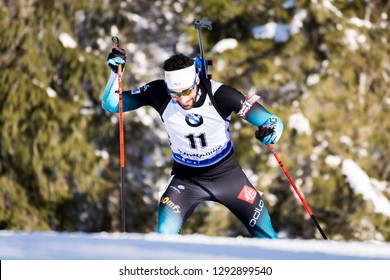 Ruhpolding, Germany - January 17, 2019: Martin Fourcade (France) during sprint race at the IBU World Cup Biathlon.