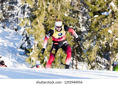 Ruhpolding, Germany - January 17, 2019: Johannes Boe (Norway) during sprint race at the IBU World Cup Biathlon.
