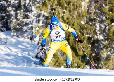 Ruhpolding, Germany - January 17, 2019: Jesper Nelin (Sweden) competes in the sprint race at the IBU World Cup Biathlon.