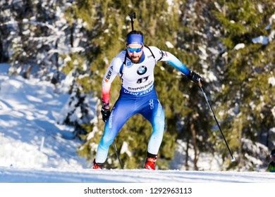 Ruhpolding, Germany - January 17, 2019: Benjamin Weger (Switzerland) competes in the sprint race at the IBU World Cup Biathlon.