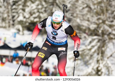 Ruhpolding, Germany - January 17, 2019: Henrik L'Abee-Lund (Norway) competes in the sprint race at the IBU World Cup Biathlon.