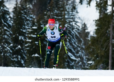 Ruhpolding, Germany - January 17, 2019: Laura Dahlmeier (Germany) competes in the sprint race at the IBU World Cup Biathlon.