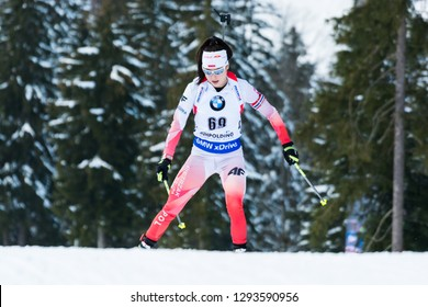 Ruhpolding, Germany - January 17, 2019: Kamila Zuk (Poland) during sprint race at the IBU World Cup Biathlon.