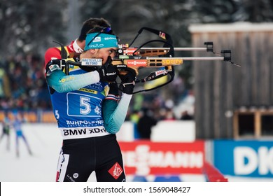 Ruhpolding, Germany - January 18, 2019: Simon Desthieux (France) during men relay at IBU World Cup Biathlon.