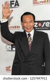 Rui Xing Zhu attends Hollywood International Golden Film Award Dinner Gala at Le Foyer Ballroom, Los Angeles, California on December 12th, 2018