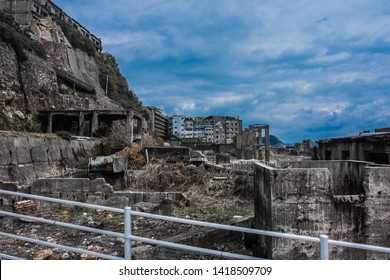 ruied city on the island, nagasaki