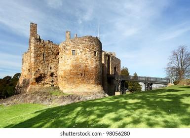 The ruin of 13th century Dirleton Castle, Dirleton, East Lothian on a sunny day