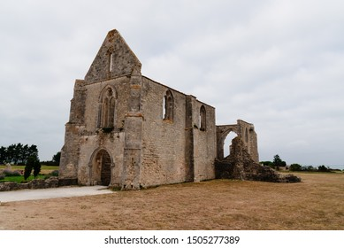 The ruin of the abbey des chateliers on the island of Re , Ile de Re, France.