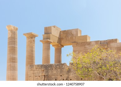 ruin of an ancient temple at the Acropolis of Lindos at Rhodes in Greece