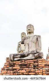 Ruin of Buddha statues in Wat Phra Si Sanphet, Ayutthaya Historical Park, Phra Nakhon Si Ayutthaya, Ayutthaya ,THAILAND. Selective focus