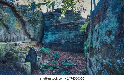Ruin of castle Burgstall Gutenfels in Hassberge county near Buch, Bavaria, Germany