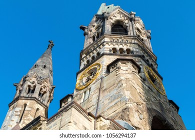 "Ruin of the cathedral ""Kaiser-Wilhelm-Gedaechtniskirche"" in Berlin, Germany as memorial for the Second World War"