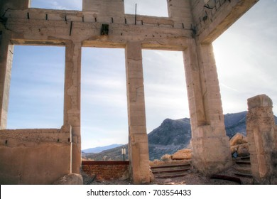 Ruin in the ghost town of Rhyolite, Nevada