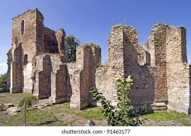 Ruin of gothic catholic church at Baia in Moldova Romania, built at 1410