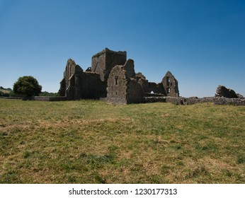 The ruin of the Hore Abbey in Ireland near Cashel with a meadow in the foreground