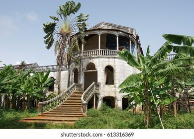 Ruin of the hospital of Roca Agua Ize, Sao Tome, Africa
