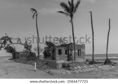 Ruin House Black White On Beach Stock Photo Edit Now 1066677725