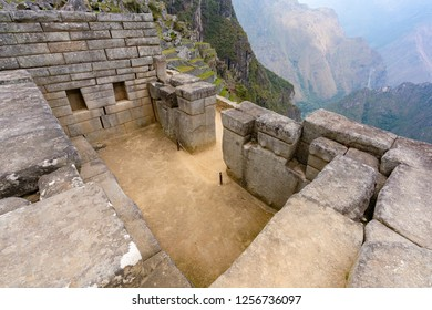 Ruin of the inside of an ancient house at Machu Picchu, Peru