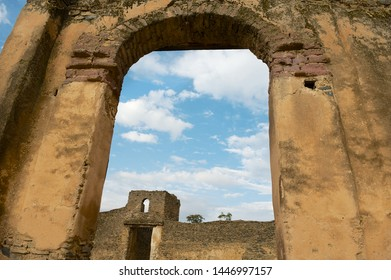 Ruin of the medieval fortress in Gondar, Ethiopia. UNESCO World Heritage site.