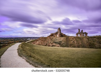 Ruin of medieval Sandal Castle in Wakefield, England