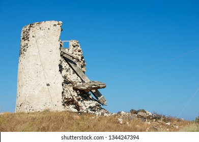 Ruin of old windmill at Santorini, Greece.