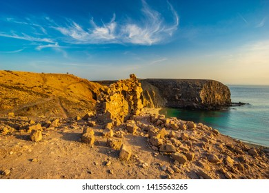 ruin on the cliff above the famous Papagayo beach in Lanzarote