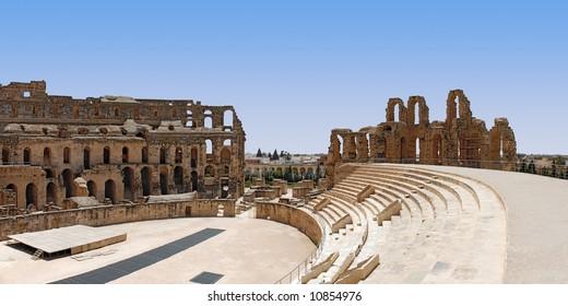 Ruin of Roman Colosseum in El-Jem, Tunisia (UNESCO World Heritage)