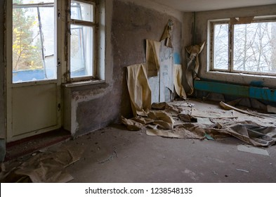 Ruin in room in 9-storey apartment building in dead abandoned ghost town Pripyat, Chernobyl NPP exclusion zone, Ukraine