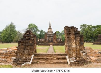 Ruin site of Sukhothai, ancient civilization of Siam (ancient name of Thailand)