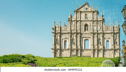 Ruin of St.Paul in Macau in Blue sky