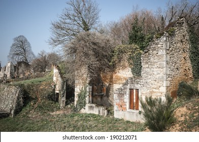 Ruin of village, Oradour-sur-Glane, France. In this village, 642 of its inhabitants were massacred by a German Waffen-SS company in the second world war.