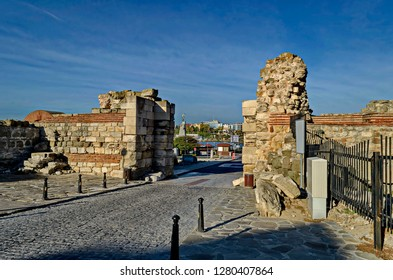 Ruin of Western fortification wall and entrance  in ancient city Nessebar or Mesembria on the Black Sea coast, Bulgaria, Europe