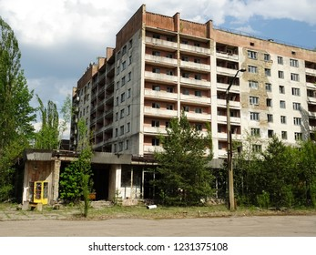 ruined and abandoned building in Pripyat city, apocalyptic town near to Chernobyl power plant hit by nuclear disaster in 1986, Chernobyl Exclusionn Zone, Ukraine, East Europe
