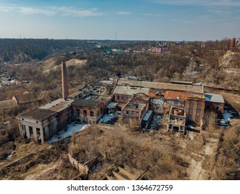 Ruined abandoned factory aerial view