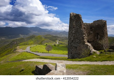 Ruined ancient tower in the mountains of Georgia near the town of Mtskheta, Tbilisi