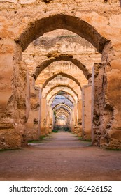The ruined arches of the massive Royal Stables in the Imperial City of Meknes, Morocco