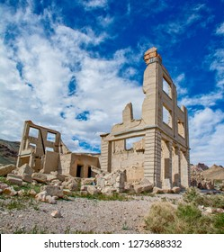 A ruined bank building  in the ghost town of Rhyolite, Nevada.