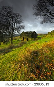A ruined barn on a stormy day near the Roaches in the Peak District, England