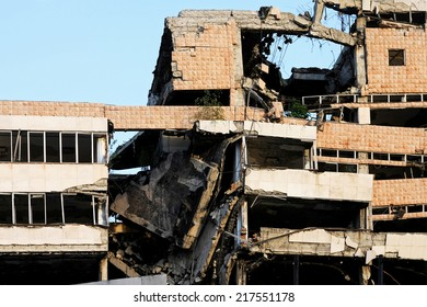 Ruined big building after strong earthquake disaster