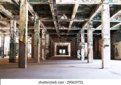 ruined building interior