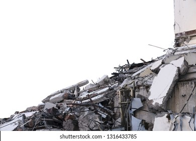 Ruined building. A pile of concrete, rubble and reinforcement debris isolated on a white background.