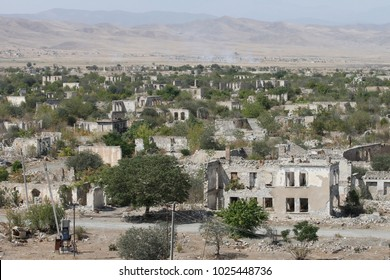 Ruined buildings of ghost town Agdam in Nagorno-Karabakh