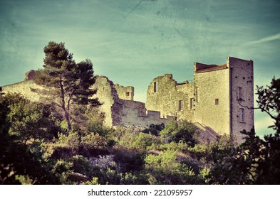 Ruined castle of the Marquis de Sade  in village Lacoste, Provence, France