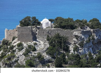 the ruined castle of Monolithos on the island of Rhodes, Greece