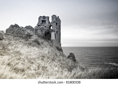 A ruined castle on the Ayrshire coast at Dunure, in South West Scotland. Black and White filter.