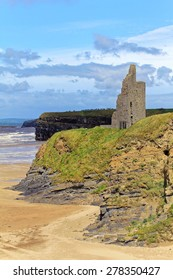 Ruined castle on a cliffs of Ballybunion on the wild atlantic way in county Kerry Ireland